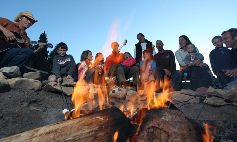 Camp fire during Sunset Jeep Tour in Aspen Colorado